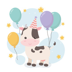 cute cow in birthday party scene