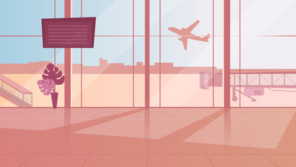 Empty airport waiting room flat vector illustration. Terminal sunlit hall with panoramic windows. Monitor with arrival schedule. Plane taking off. International travel, tourism, airline industry