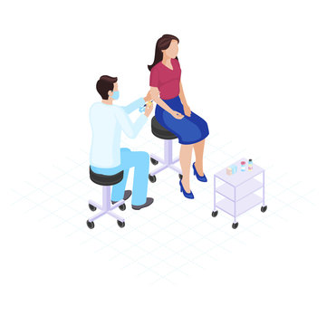 Vaccination flat color vector illustration. Immunization, inoculation, healthcare. Male doctor giving vaccine shot to female patient 3d concept. Physician in mask. Medicine and health