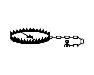 Bear trap isolated. Metal animal mantrap. vector illustration
