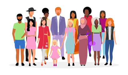Multicultural people group flat vector illustration. Different nationalities, races women and men cartoon characters. Multiracial caucasian and afro american young adults, diverse girls and guys