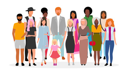 Multiracial people group flat vector illustration. Multicultural young adults together cartoon characters. Community, society. Diverse women and men. Unity in diversity, international tolerance