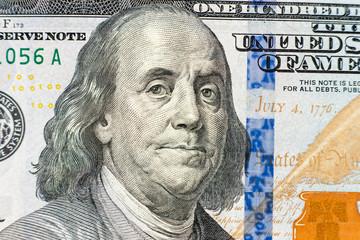 one hundred dollar bill close up