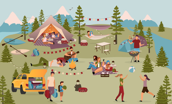 Holidaymakers in summer camp flat vector illustration. Friends, students on vacation in mountains. Families with children, couples enjoying active rest, kayaking, summertime outdoor activities