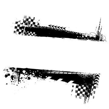 Black grunge horizontal frame with race elements and horizontal frame