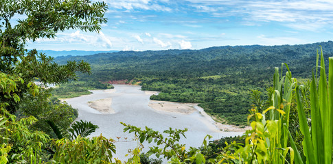 View of the Amazonia lush forest from Manu National Reserve Park in Peru