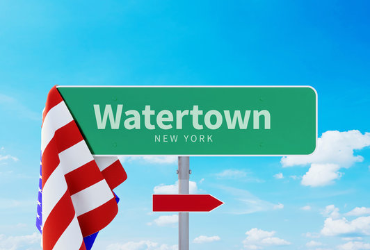 Watertown – New York. Road or Town Sign. Flag of the united states. Blue Sky. Red arrow shows the direction in the city. 3d rendering