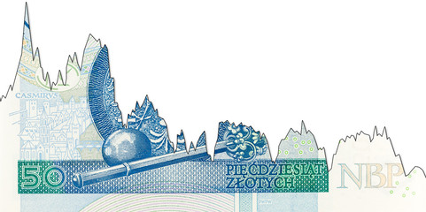 new 50 polish zloty banknote reverse decline graph indicating exchange rate with copyspace