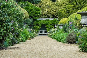 Foto op Plexiglas Tuin Traditional landscaped English garden path with lush flowering bushes.
