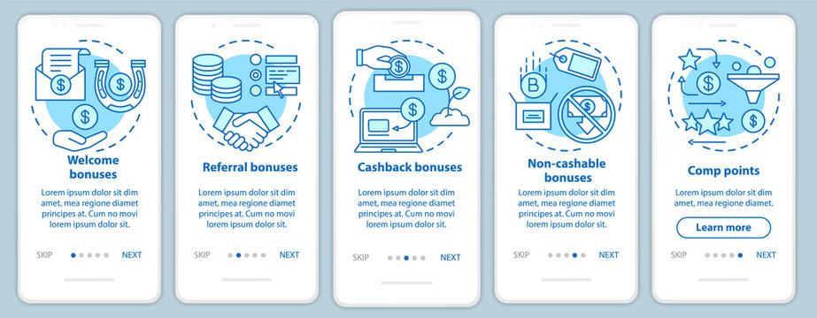 Casino bonuses onboarding mobile app page screen with linear concepts. Gambling. Comp points, cash back, referral, welcome bonuses. Walkthrough steps graphic instructions. UX, UI, GUI vector template