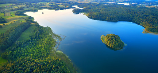 Aerial landscape from the drone - lake in masuria lake district