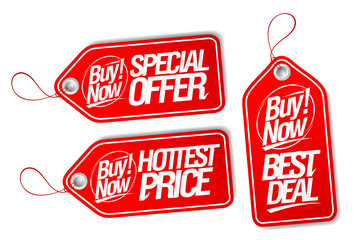 Buy now, special offer, best deal and hottest price tags