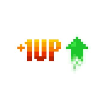Pixel art 1 level up and green arrow icon on white background - isolated vector illustration