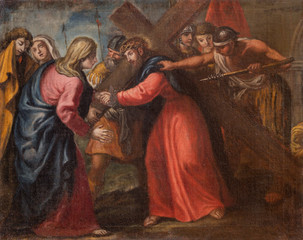 Fototapete - MALCESINE, ITALY - JUNE 13, 2019: The painting of Jesus meet his mother (part ot Via Crucis) in church Chiesa di Santo Stefano by unknown artist of 17. cent.