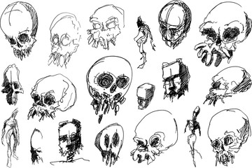 many hand drawn sketches skulls nad scary horror creatures and beasts