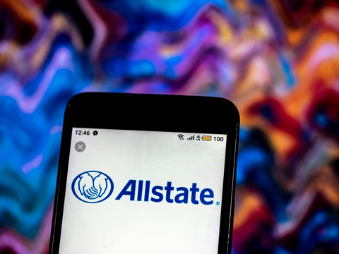 Kiev, Ukraine, December 14, 2018, illustrative editorial.  Allstate Insurance company logo seen displayed on smart phone.