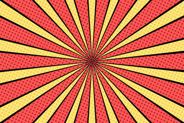 Foto auf Acrylglas Pop Art Vector comic book background. Sunburst halftone pattern in retro pop art style