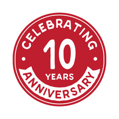10 years anniversary logo design template. Ten years logtype. Vector and illustration.