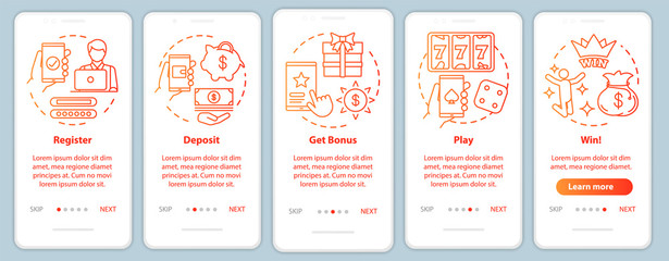 Online casino onboarding mobile app page screen with linear