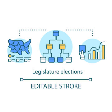 Election concept icon. Legislature elections idea thin line illustration. Choosing new congress, law maker part of state. Government official voting. Vector isolated outline drawing. Editable stroke
