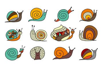 Funny snail logo for your design