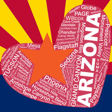 Arizona flag backdrop, major city names in tag/word cloud form on heart shape, for banner/poster/advertisement etc