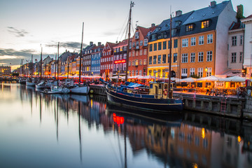 Copenhagen city and canal Nyhavn in Denmark Wall mural