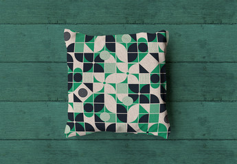 Square Pillow Mockup on Wood Background