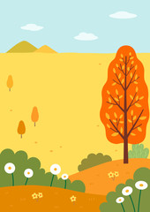 Autumn nature landscape with mountains and fields1