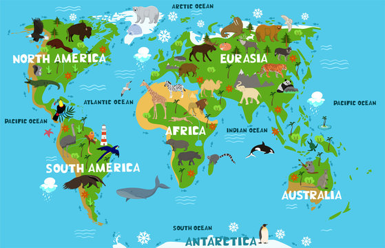 Children s world map with the names of continents and oceans. Animals on the mainland. Vector graphics.