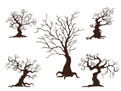Collection of trees. Concept cartoon tree in different. Halloween elements set. Vector clipart illustration isolated on white background