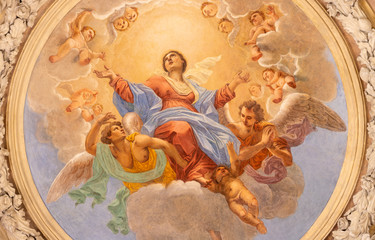 Wall Mural - RIVA DEL GARDA, ITALY - JUNE 13, 2019: The ceiling fresco of Assumption of Virgin Mary in church Chiesa di Santa Maria Assunta (Cappella del Suffragio) by Giuseppe Craffonara (19 cent.).