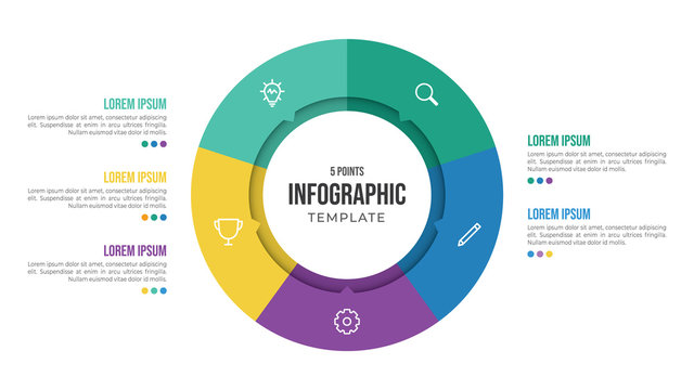 5 points circular infographic element template with icons and colorful flat style, can use for presentation slide