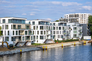 Modern houses built at the river Spree in Berlin, Germany
