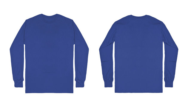 Blank plain blue long sleeve t shirt front and back view isolated on white background. Set of long sleeve tee, ready for your mockup design