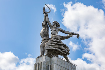 The sculpture of Rabochiy i Kolkhoznitsa (Worker and Kolkhoz Woman). Famous soviet monument of sculptor Vera Mukhina. Made of stainless steel in 1937 in Moscow