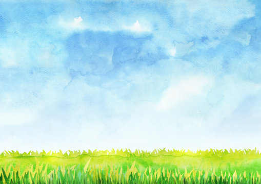 Green grass filed with blue sky watercolor hand painting background.