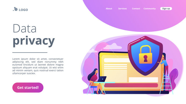 Tiny people businessman with shield protecting data on laptop. Data privacy, information privacy regulation, personal data protection concept. Website vibrant violet landing web page template.