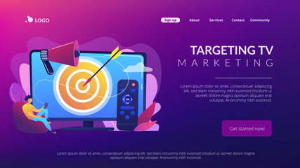 Businessman with remote control watching targeted TV ads. Addressable TV advertising, new advertising technology, targeting TV marketing concept. Website vibrant violet landing web page template.