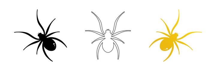 Set, collection of spider vector icons, symbols for halloween design.