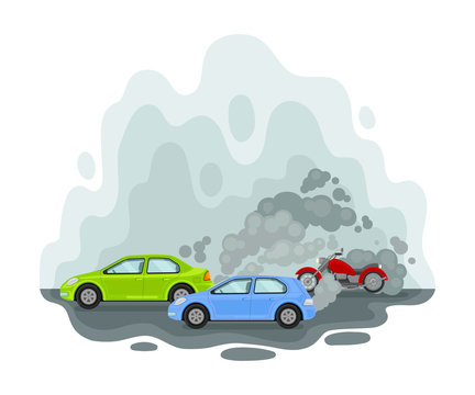 Car among the exhaust. Vector illustration on a white background.