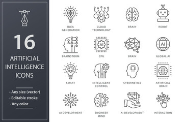 Artificial intelligence line icons set. Black vector illustration. Editable stroke.