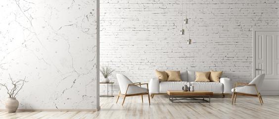 Obraz Interior of living room with white sofa 3d rendering - fototapety do salonu