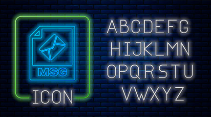 Glowing neon MSG file document. Download msg button icon isolated on brick wall background. MSG file symbol. Neon light alphabet. Vector Illustration