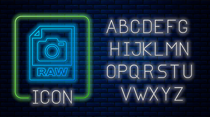 Glowing neon RAW file document. Download raw button icon isolated on brick wall background. RAW file symbol. Neon light alphabet. Vector Illustration