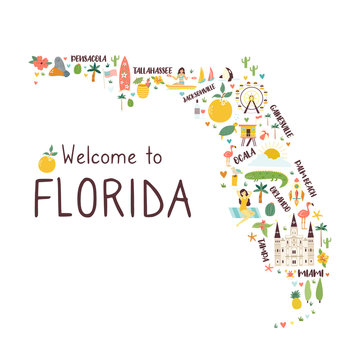 Illustrated abstract map of Florida with symbols