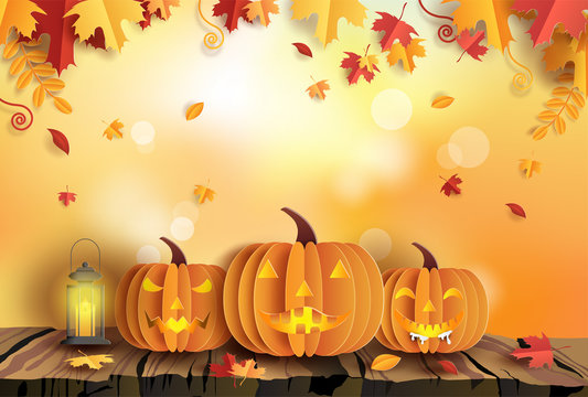 Paper art style of pumpkins on wood with autumn background, Halloween concept.