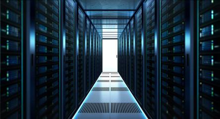 Big data center storage with full of rack servers .Cloud server room 3D rendering . Wall mural