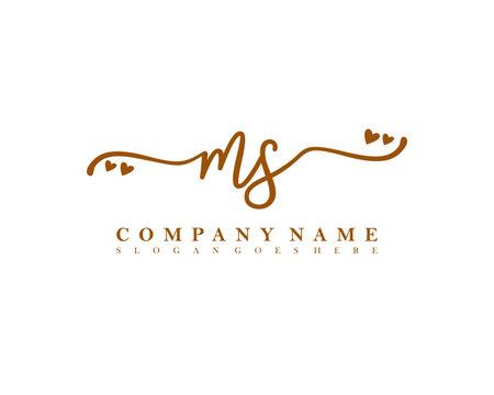 MS Initial handwriting, Feminine logo design template vector