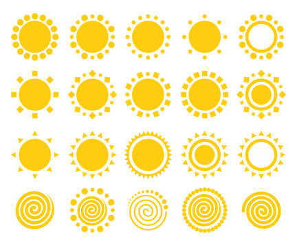Sun icons isolated on white background set. Flat yellow sunlight symbols collection. Elements for Solar logo design. Vector illustration
